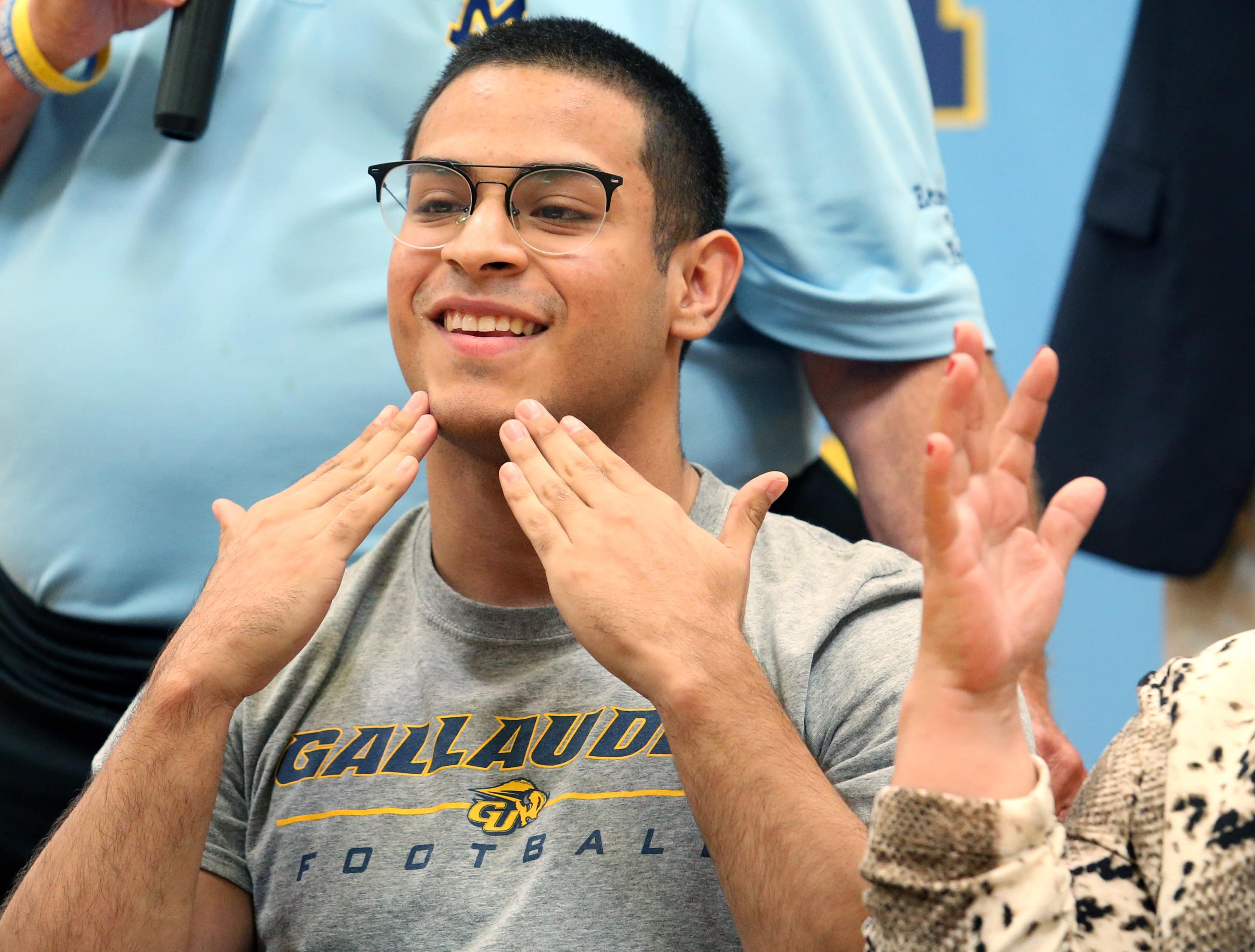 Determination scores: McAllen Memorial's Alegria signs to play football at hearing-impaired university   MyRGV.com